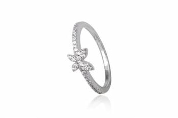 Butterfly Cubic Zirconia Sterling Silver Ring