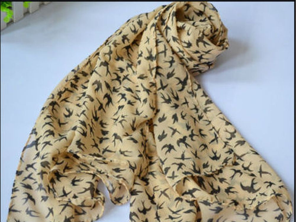Chiffon Swallow Apricot Scarf - Essentially Silver Jewelry