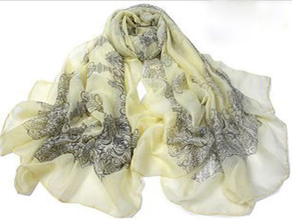 Autumn Totem Retro Female Cotton Scarf Pale Yellow Tint - Essentially Silver Jewelry