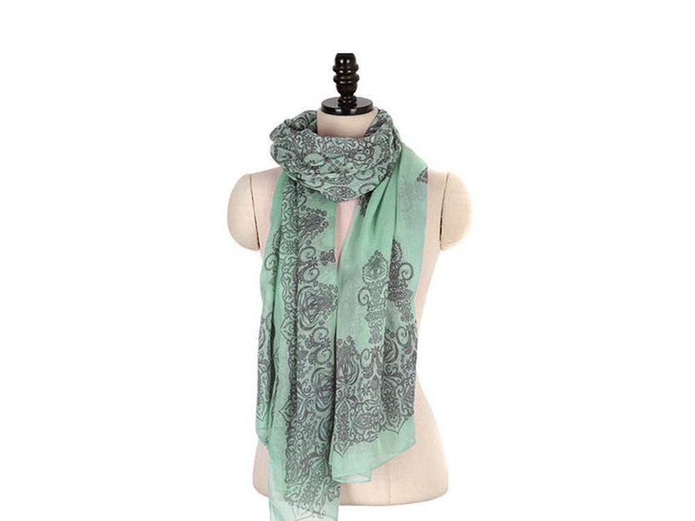 Autumn Totem Retro Female Cotton Green Scarf - Essentially Silver Jewelry