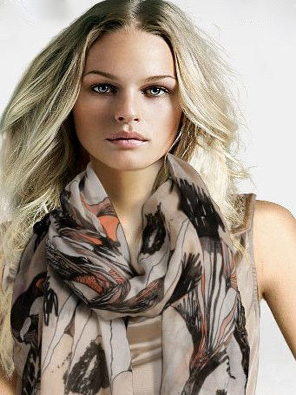 Begonia flower scarf ultra long beige - Essentially Silver Jewelry