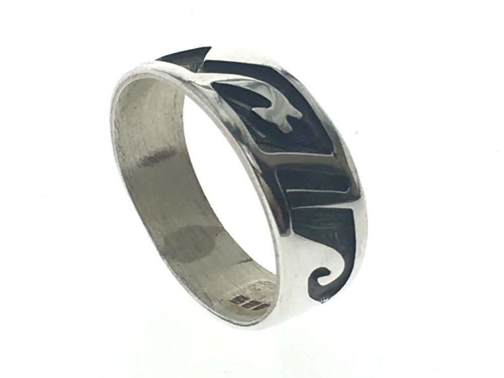 Oxidised Waves Cliff Tapered Sterling Silver Band - Essentially Silver Jewelry