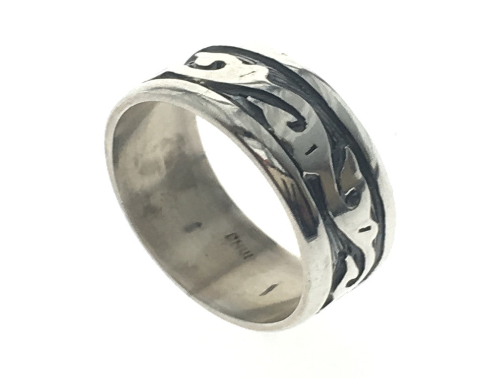 Oxidised 8mm Frond Sterling Silver Band