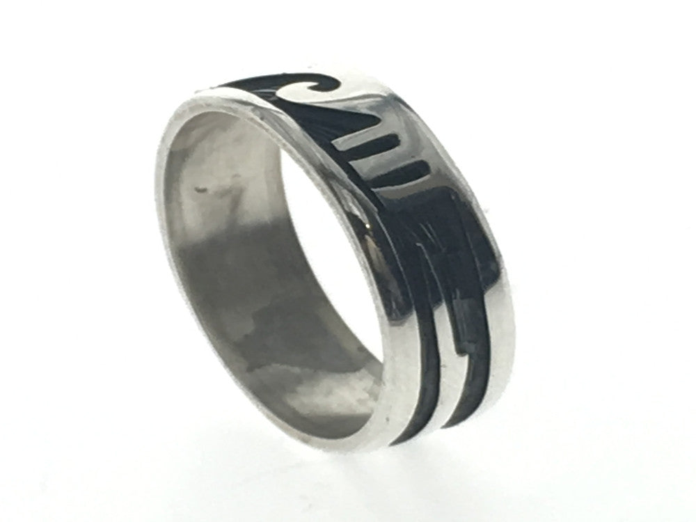 Oxidised Surf 7mm Sterling Silver Band