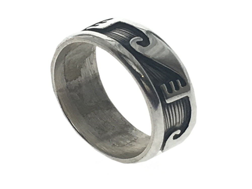 Oxidised Wave Break 8mm Sterling Silver Band - Essentially Silver Jewelry