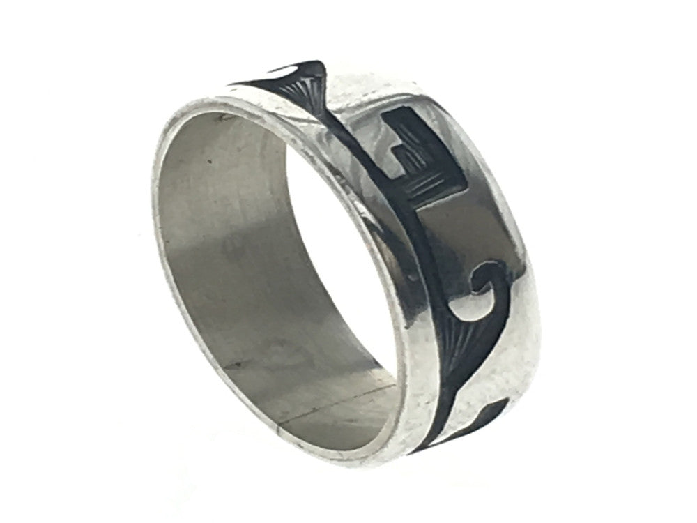 Oxidised Wave 8mm Sterling Silver Band - Essentially Silver Jewelry