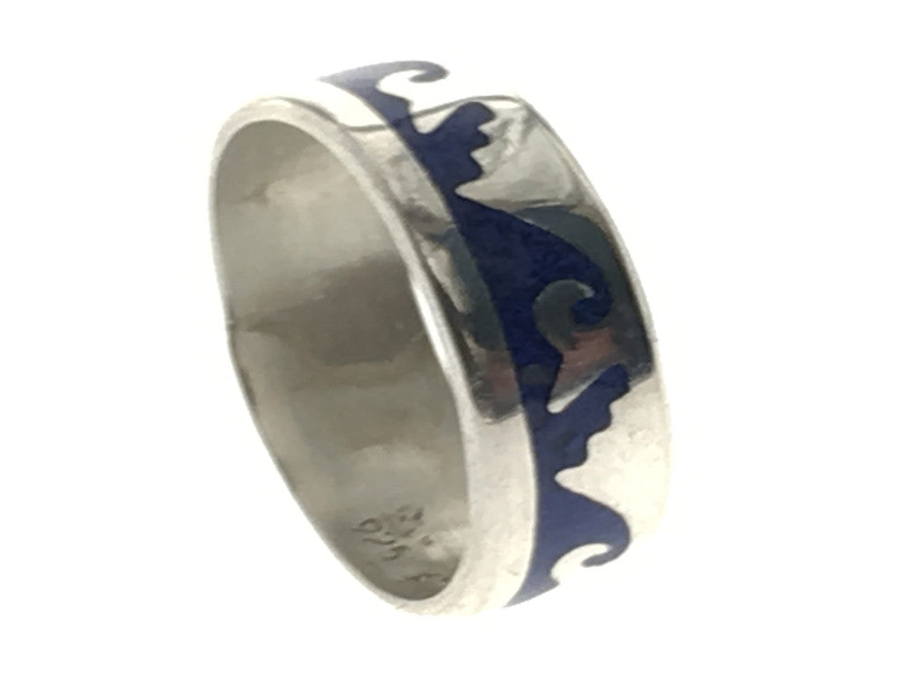 Lapis Stepped Wave Sterling Silver Band