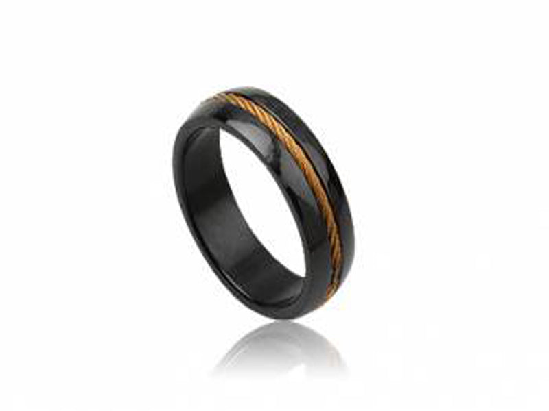 Stainless Steel 7mm Black Gold Plated Ring