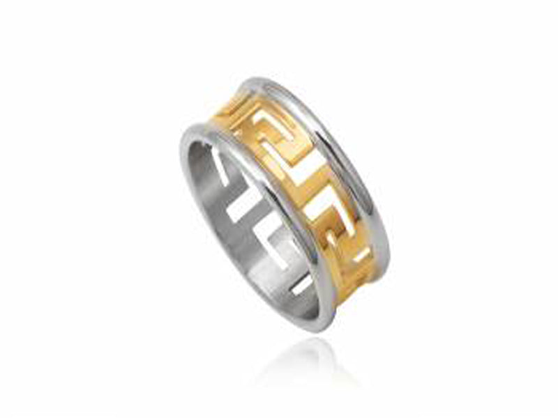 Stainless Steel 10mm Gold Plated Mens Ring