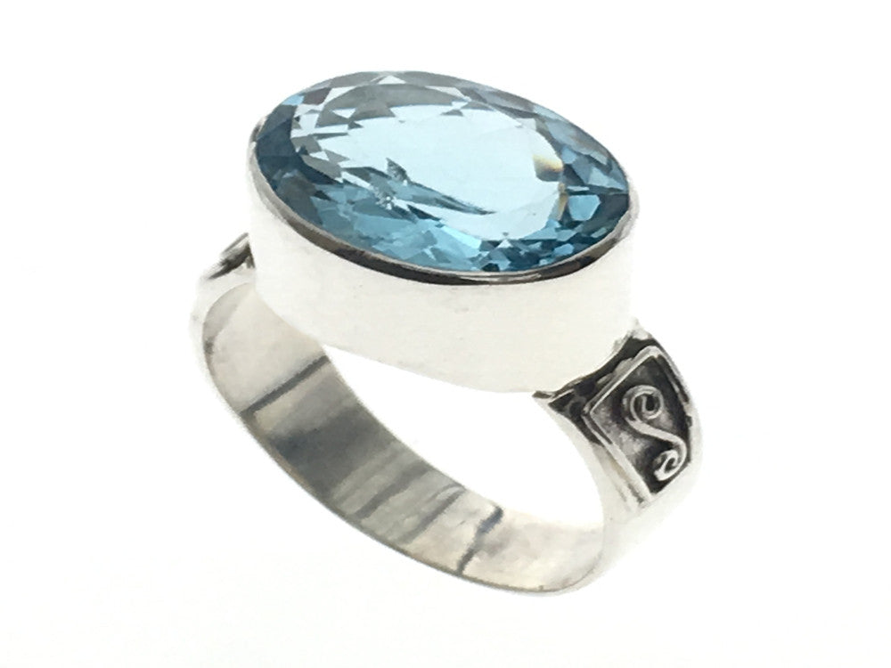 Blue Topaz Sterling Silver Ring - Essentially Silver Jewelry
