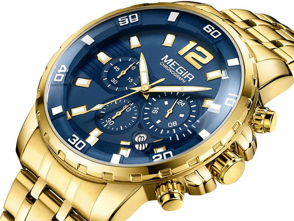 Gold Stainless Steel Quartz Watch Chronograph Analogue Wristwatch