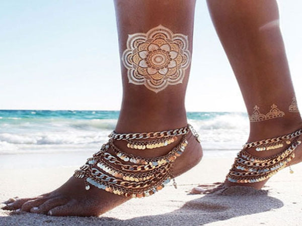 Foot Anklet Indian Gold Style - Essentially Silver Jewelry