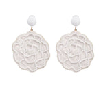 White Round F Earrings