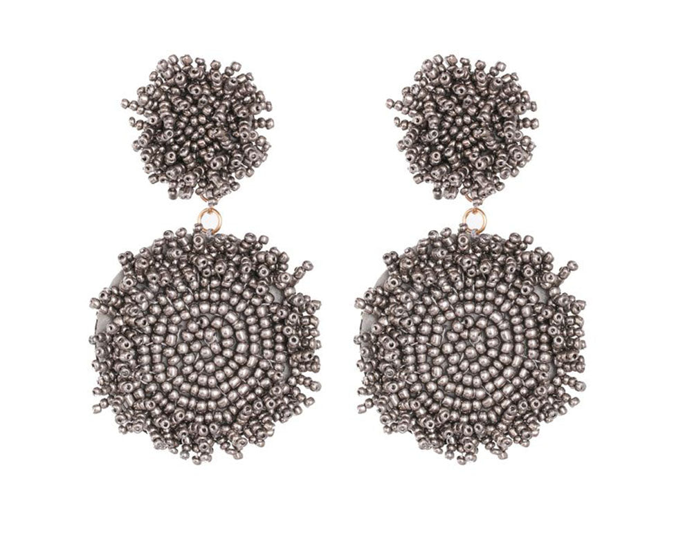 Round Grey Beaded Earrings