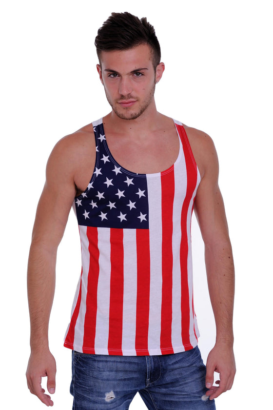 Men's Proud American United States Flag USA Tank Top