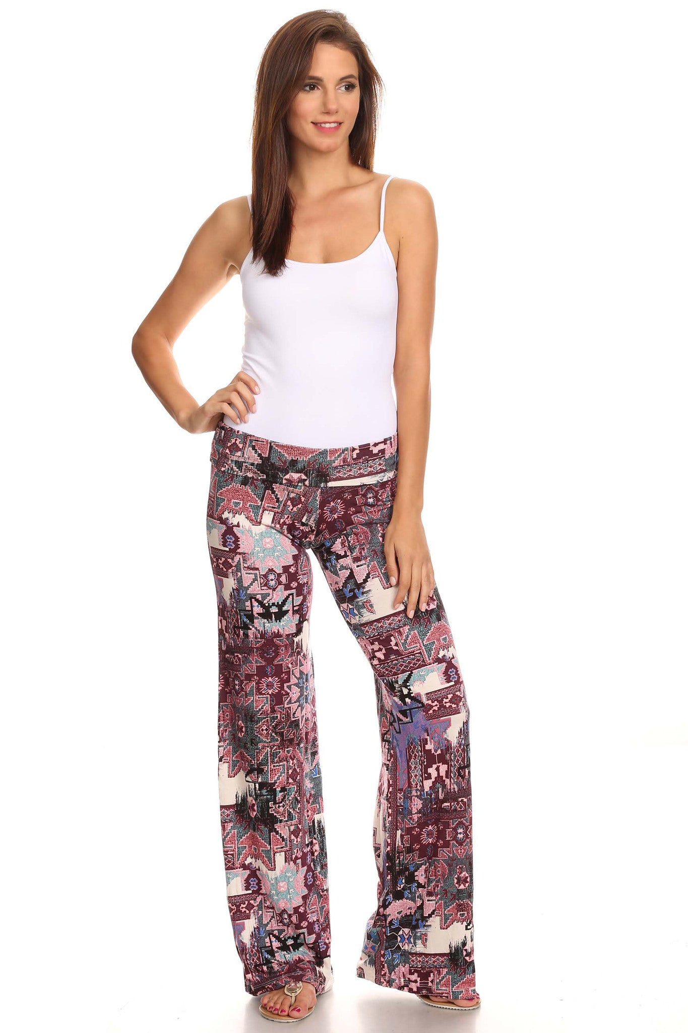 69c9dd0181f ... Women s Printed Palazzo Pants Made in USA-Pants-Sharon s Outlet-DAMASK  BLACK- ...