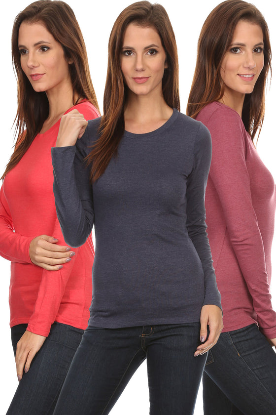 3 Pack Women's Long Sleeve Shirt Crew Neck Slim Fit Athleisure
