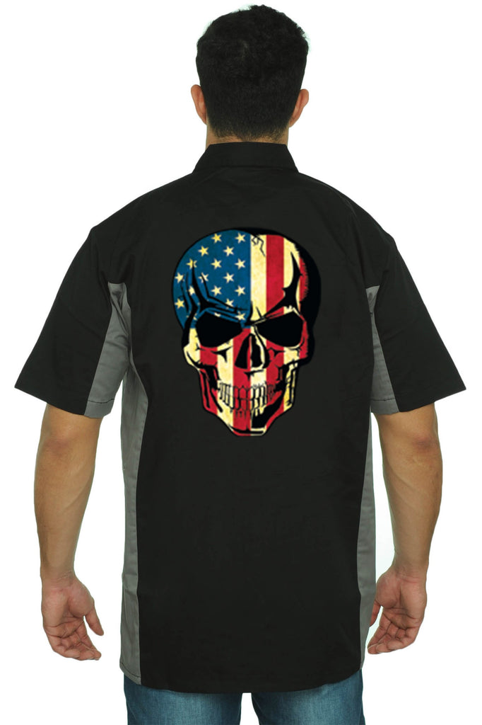 Men's Mechanic Work Shirt American Flag Skull