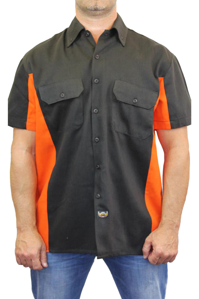 "Biker Mechanic Work Shirt ""Skeleton with Pistols/Guns"" BLACK/ORANGE"