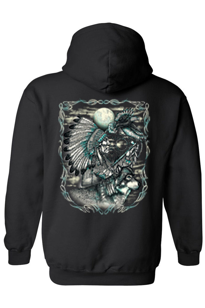 Men's/Unisex Zip-Up Hoodie Indian Dreamcatcher With Wolf Mens Zip Up Hoodies SHORE TRENDZ BLACK SMALL