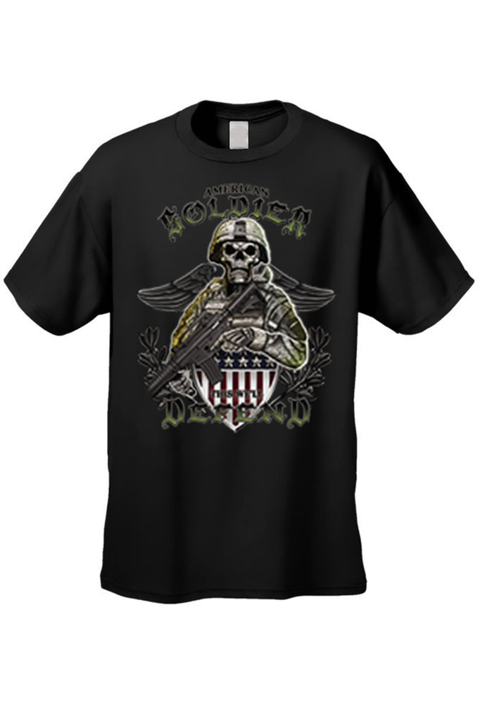 Men's T Shirt American Soldier Short Sleeve Tee Mens T-Shirts SHORE TRENDZ BLACK SMALL