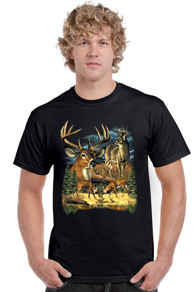 Men's T Shirt Group Of Deers Short Sleeve Tee Mens T-Shirts SHORE TRENDZ BLACK SMALL