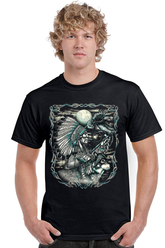 Men's T Shirt Indian Dreamcatcher With Wolf Short Sleeve Tee Mens T-Shirts SHORE TRENDZ BLACK SMALL
