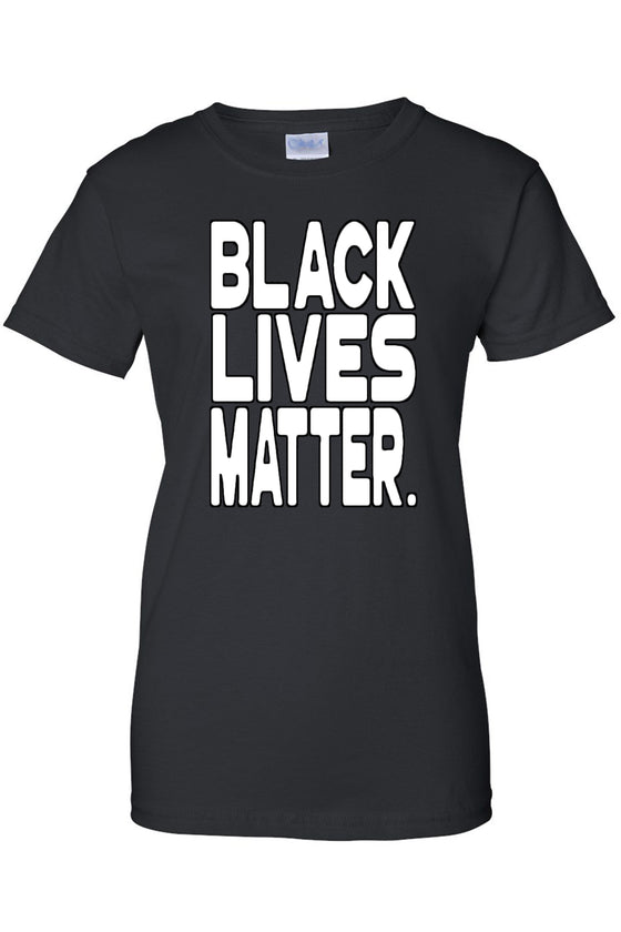 Women's Juniors T Shirt Black Lives Matter White Print