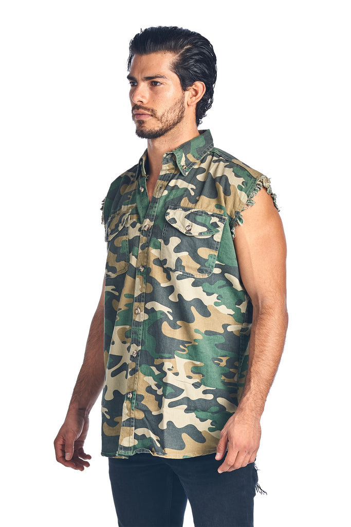 Men's Camo Sleeveless Denim Shirt Camouflage Shirt 2 Front Pockets