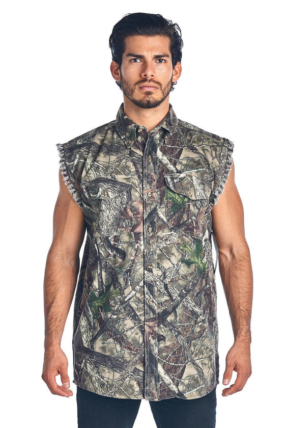 Camo Hunting Sleeveless Denim Shirt Camouflage Authentic True Timber Vest M-6XL Sleeveless Denim SHORE TRENDZ MEDIUM