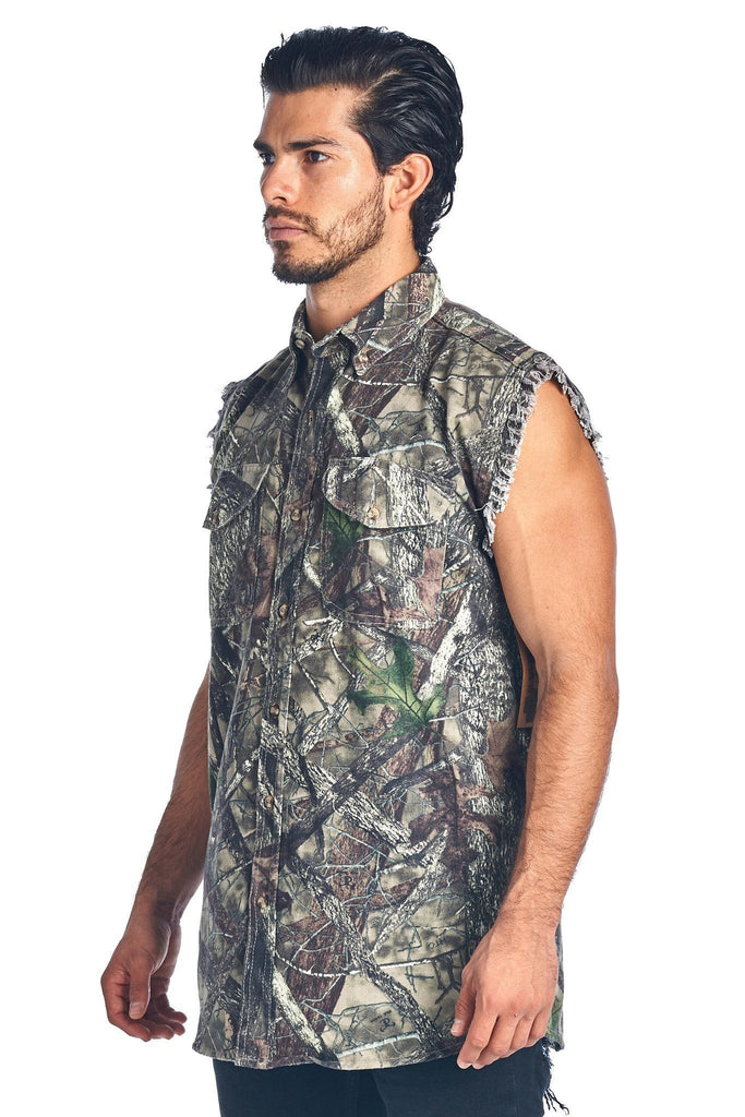 Camo Hunting Sleeveless Denim Shirt Camouflage Authentic True Timber Vest M-6XL Sleeveless Denim SHORE TRENDZ