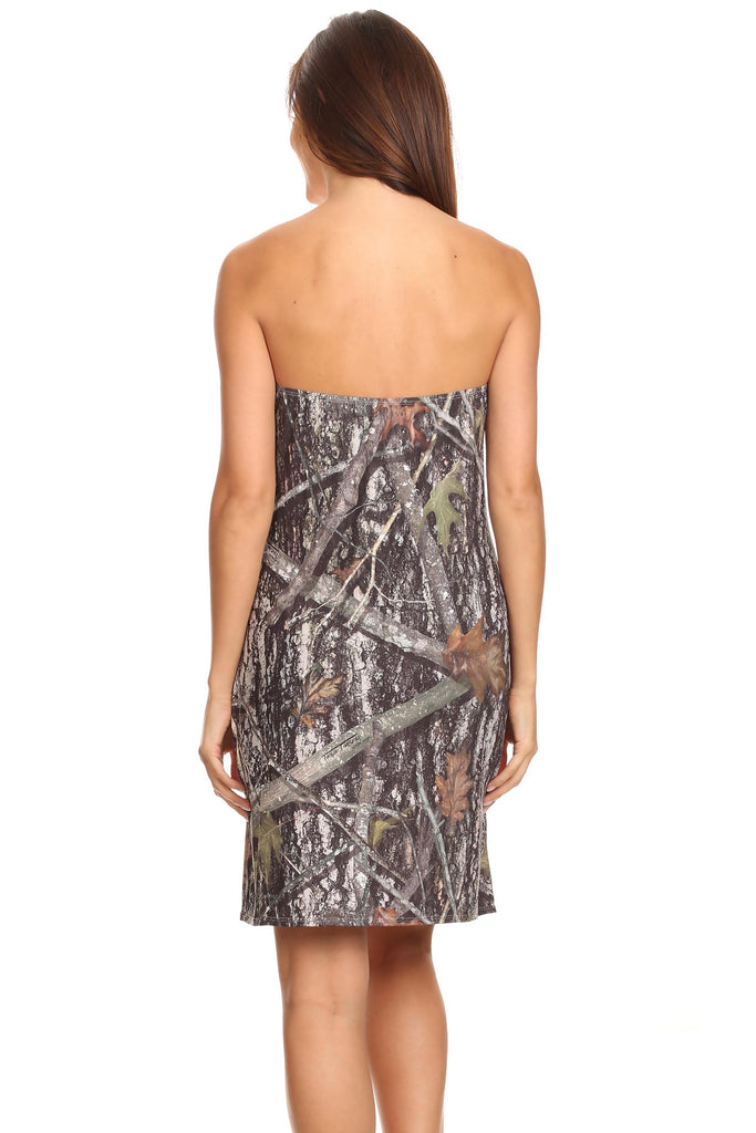 Women's Camo Tube Top Beach Dress True Timber Strapless Cover Up Made In USA