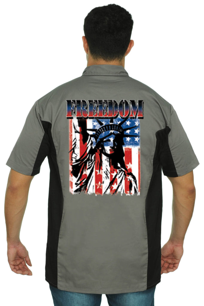 Men's Mechanic Work Shirt Freedom Statue Of Liberty