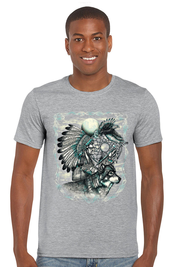 Men's T Shirt Indian Dreamcatcher With Wolf Short Sleeve Tee Mens T-Shirts SHORE TRENDZ GREY SMALL