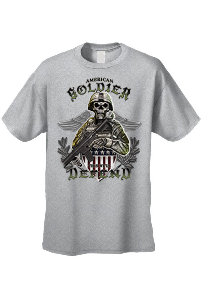 Men's T Shirt American Soldier Short Sleeve Tee Mens T-Shirts SHORE TRENDZ GREY SMALL