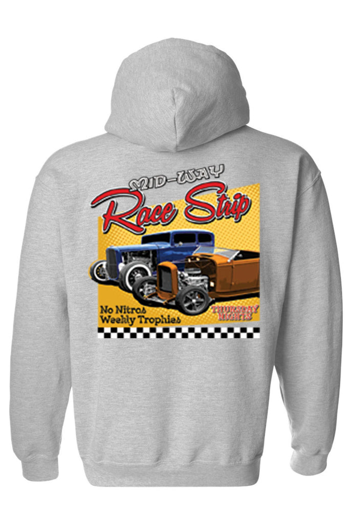 Men's/Unisex Pullover Hoodie Mid-Way Race Strip Mens Pullover Hoodies SHORE TRENDZ GREY SMALL