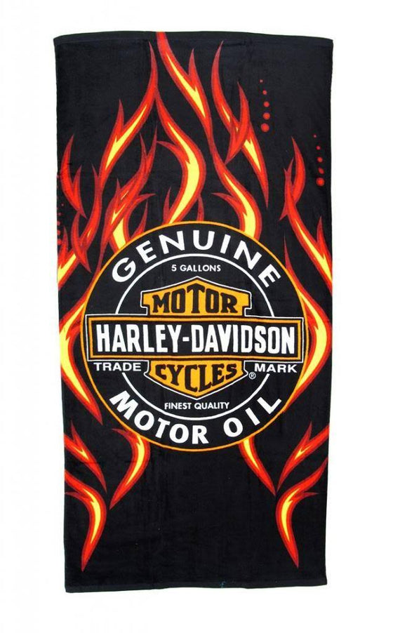 "Licensed Harley Davidson Motor Cycles Bath Beach Towel 54""X68"" SOA Towel SHORE TRENDZ BLACK"