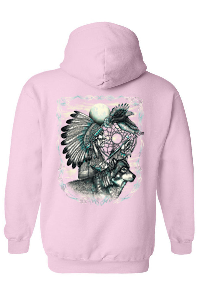 Men's/Unisex Zip-Up Hoodie Indian Dreamcatcher With Wolf Mens Zip Up Hoodies SHORE TRENDZ LIGHTPINK SMALL