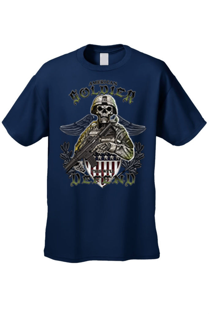 Men's T Shirt American Soldier Short Sleeve Tee Mens T-Shirts SHORE TRENDZ NAVY SMALL