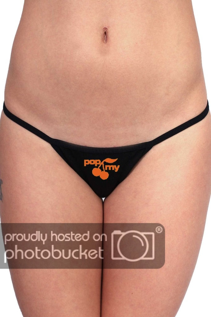 3 P Black Thongs with Funny Orange Graphic