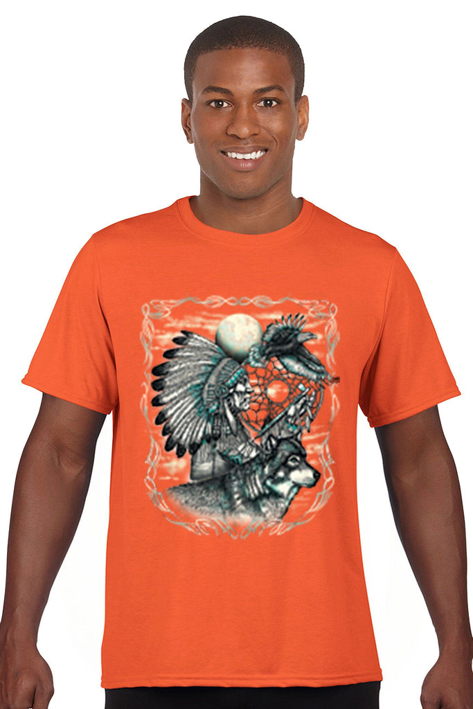 Men's T Shirt Indian Dreamcatcher With Wolf Short Sleeve Tee Mens T-Shirts SHORE TRENDZ ORANGE SMALL
