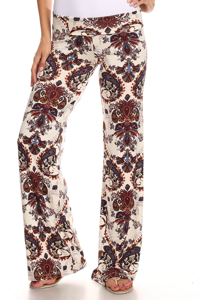 Women's Printed Palazzo Pants Made in USA-Pants-Sharon's Outlet-DAMASK BLACK-MEDIUM-SHORETRENDZ