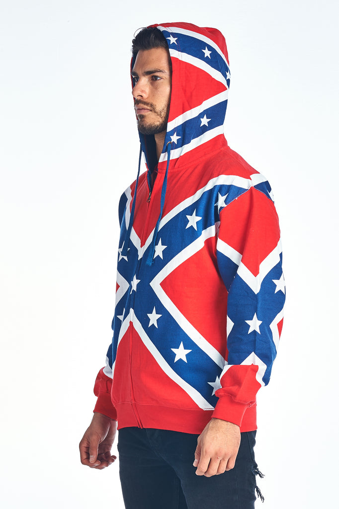 Confederate Rebel Flag Zip Up Hoodie Southern Dixie Redneck Pride