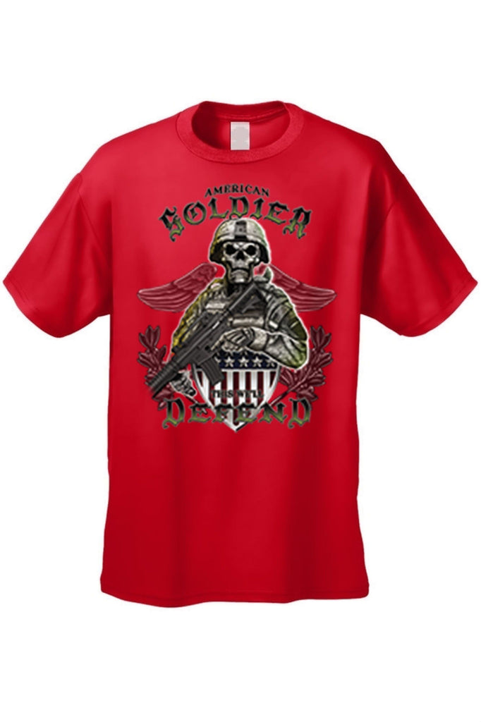 Men's T Shirt American Soldier Short Sleeve Tee Mens T-Shirts SHORE TRENDZ RED SMALL