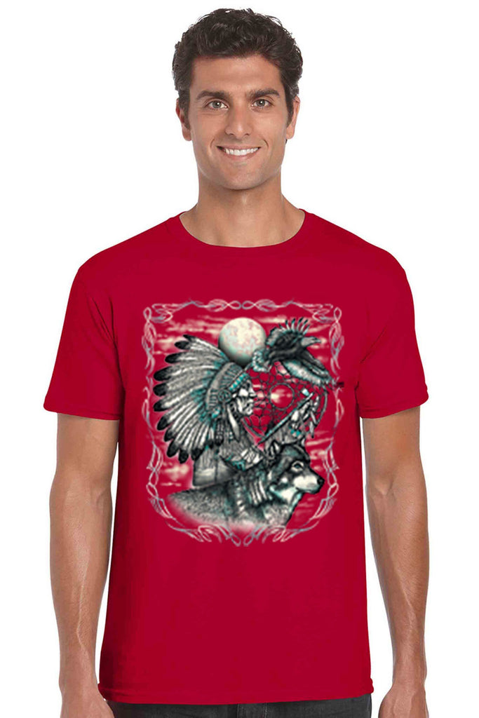 Men's T Shirt Indian Dreamcatcher With Wolf Short Sleeve Tee Mens T-Shirts SHORE TRENDZ RED SMALL
