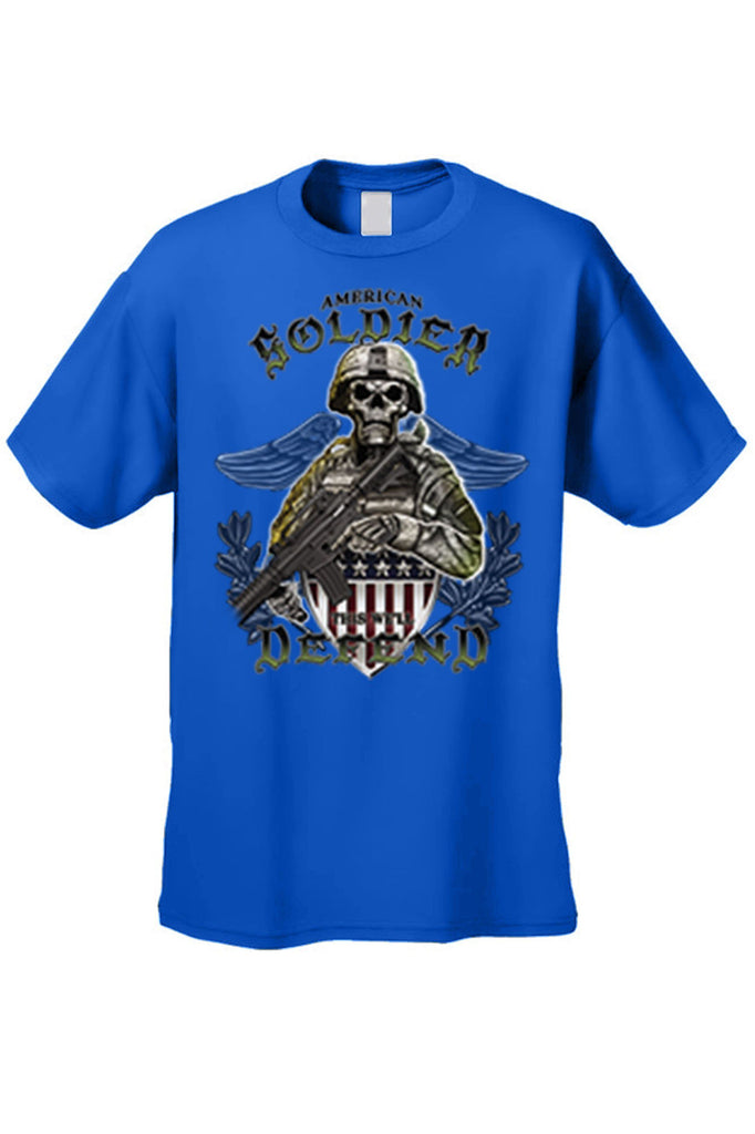 Men's T Shirt American Soldier Short Sleeve Tee Mens T-Shirts SHORE TRENDZ ROYALBLUE SMALL