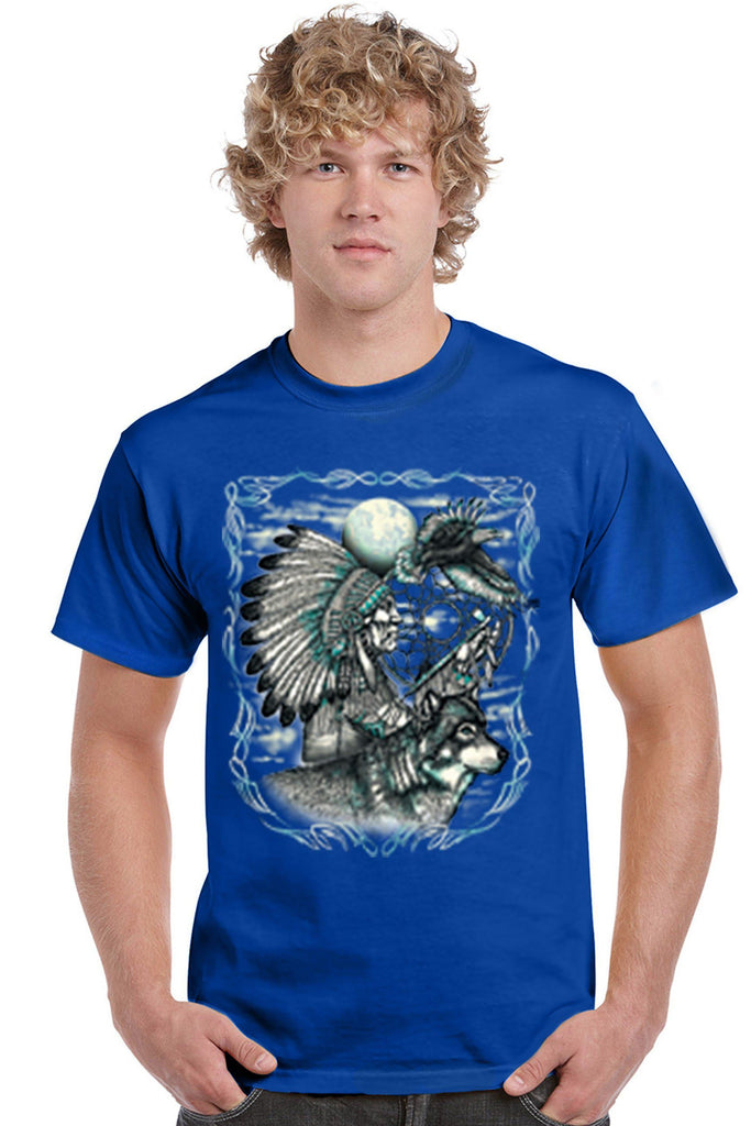 Men's T Shirt Indian Dreamcatcher With Wolf Short Sleeve Tee Mens T-Shirts SHORE TRENDZ ROYALBLUE SMALL