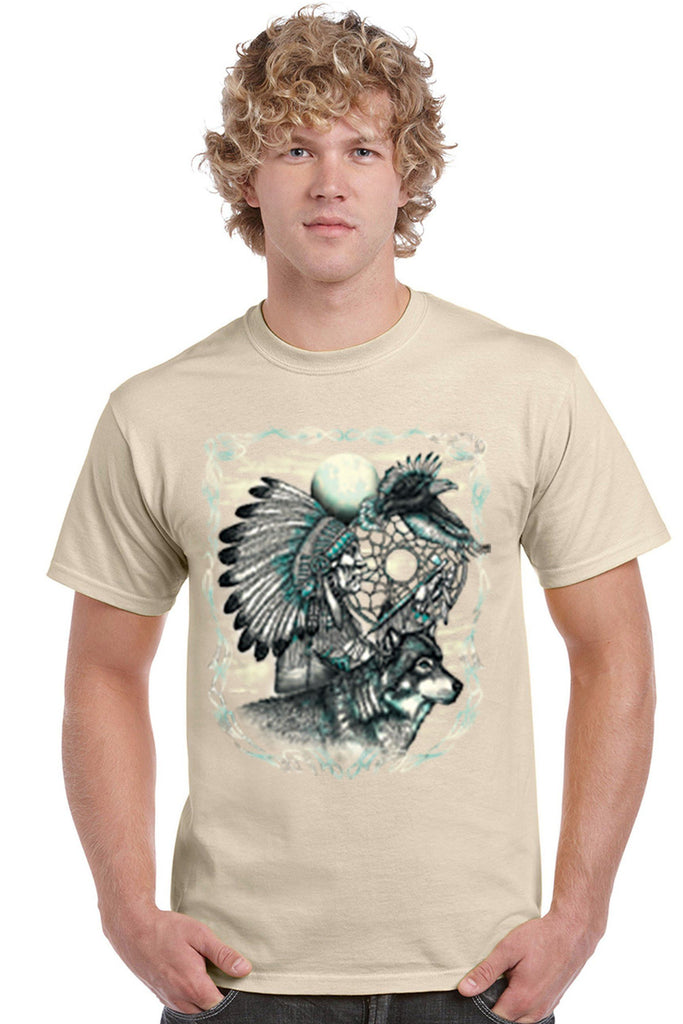 Men's T Shirt Indian Dreamcatcher With Wolf Short Sleeve Tee Mens T-Shirts SHORE TRENDZ TAN SMALL