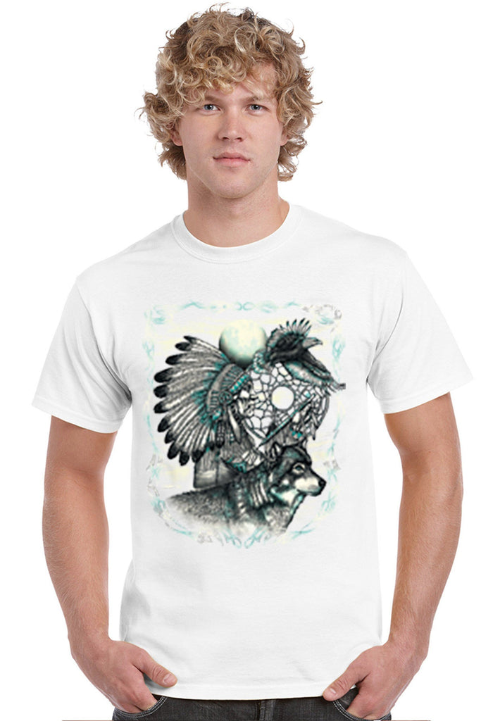 Men's T Shirt Indian Dreamcatcher With Wolf Short Sleeve Tee Mens T-Shirts SHORE TRENDZ WHITE SMALL