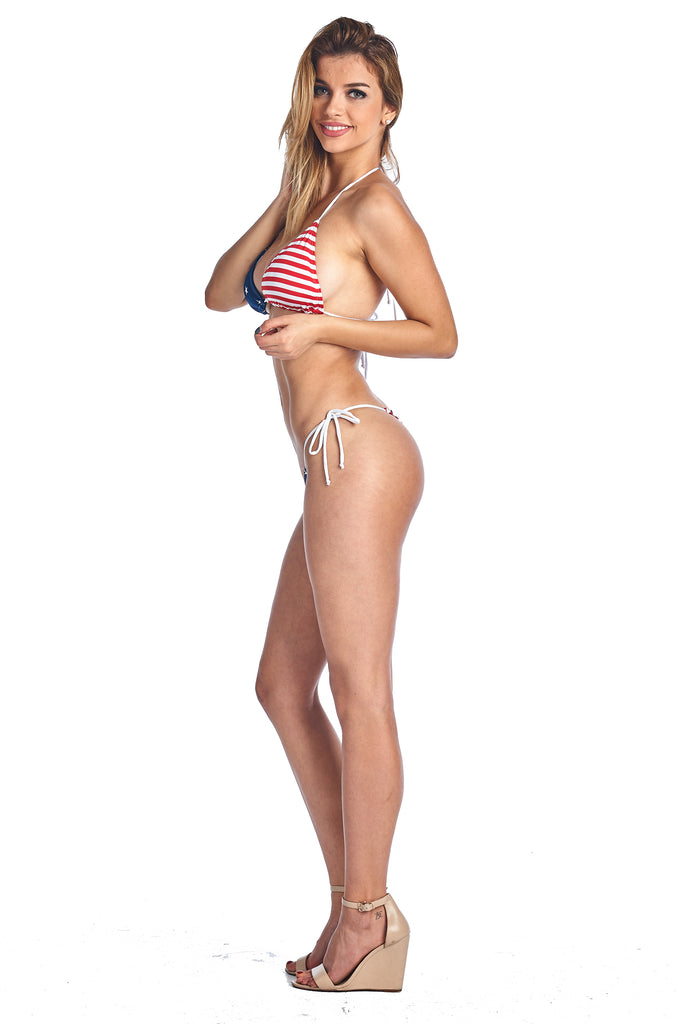 Women's Juniors USA Flag 2-Piece Bikini Micro Thong Swimwear